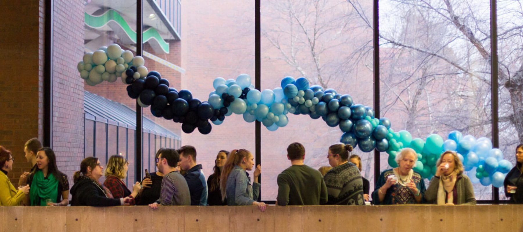 Gallery event with balloons