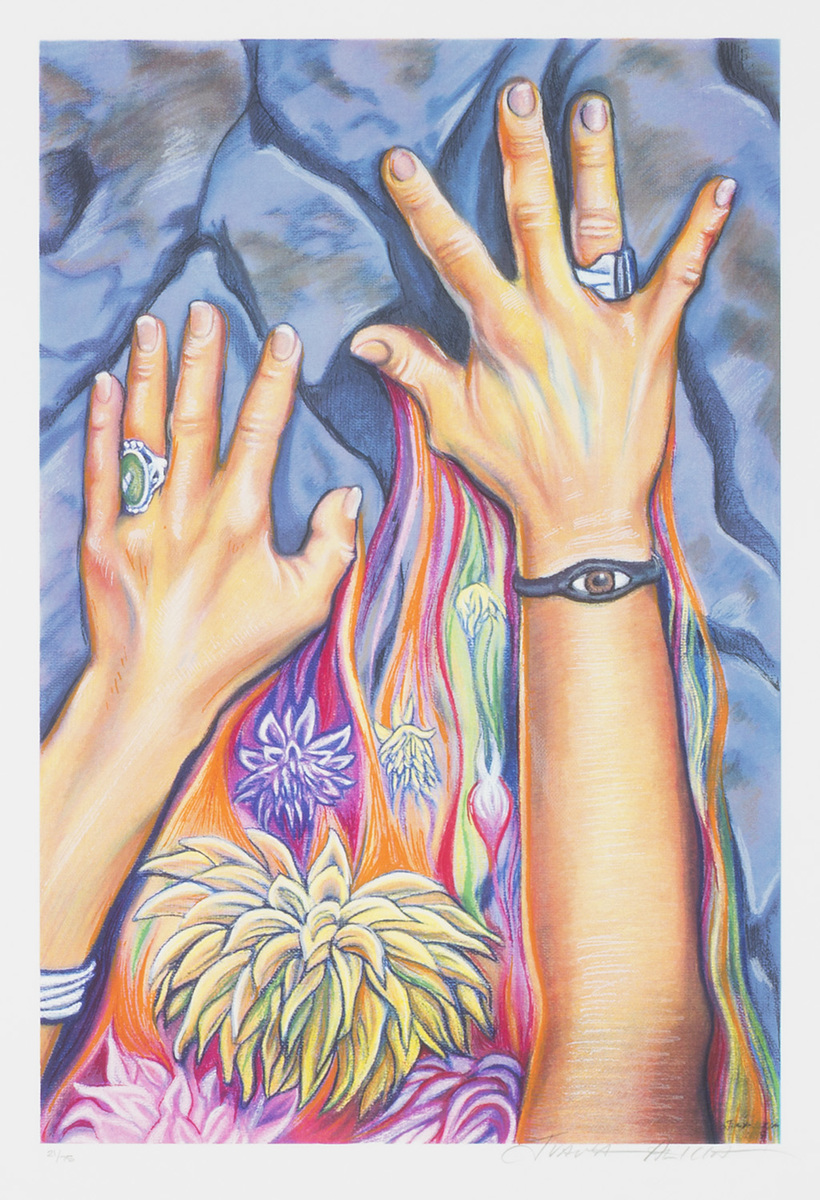 A painting of a woman's hands, grasping at a stone surface