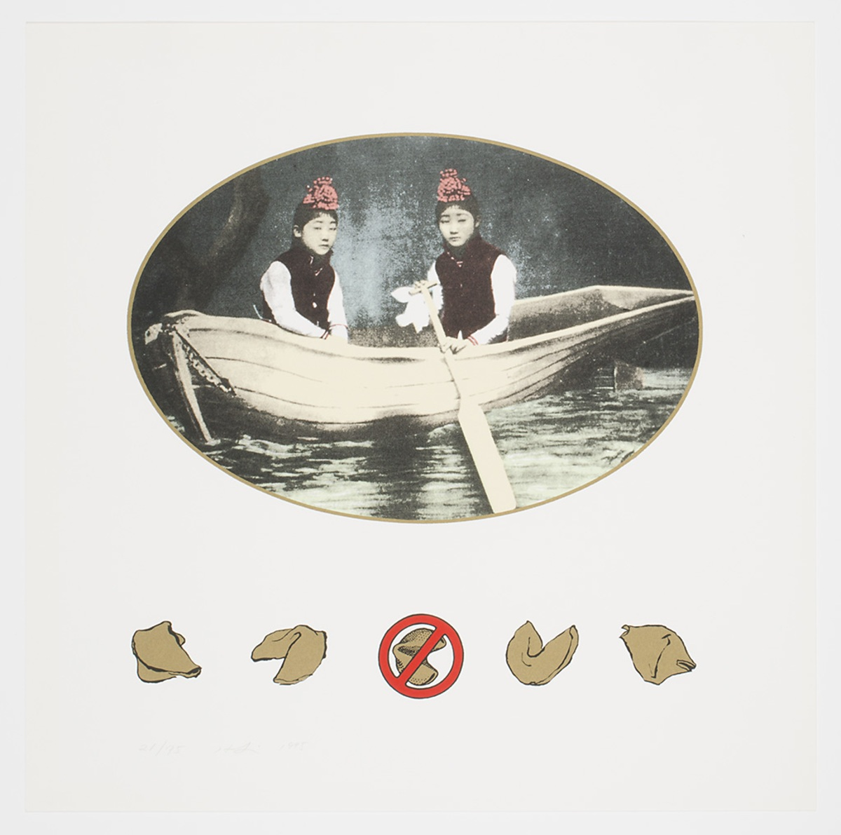 a historical photo of two people in a boat in in an oval over five fortune cookies in a row, the middle fortune cookie has a no symbol