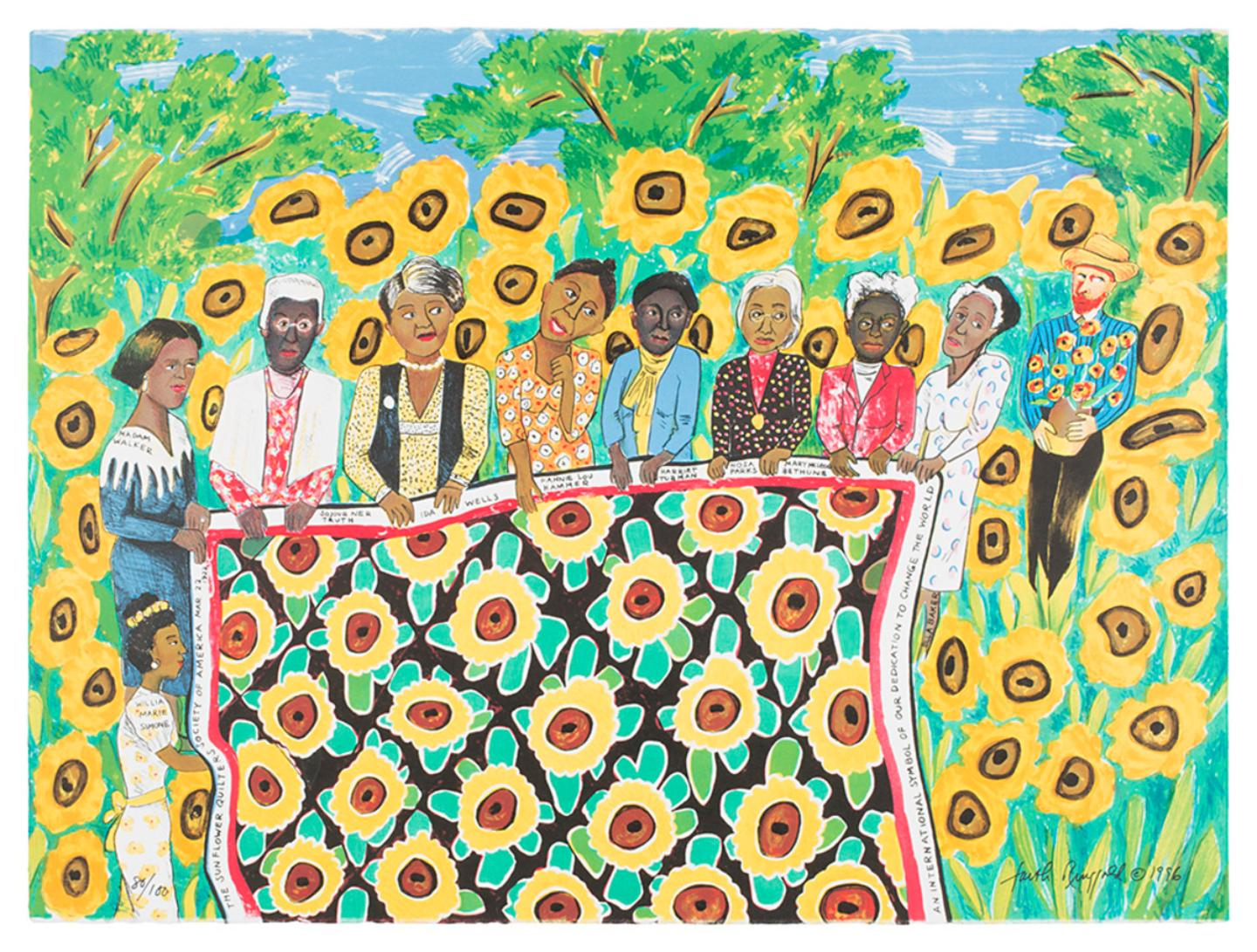 9 black women hold a sunflower quilt in a field of sunflowers with Van Gough standing beside them
